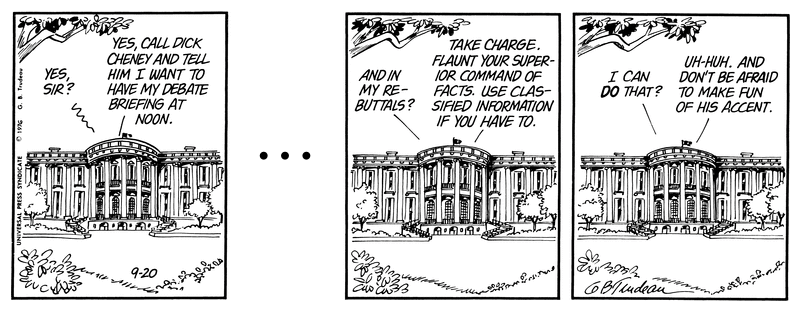 Doonesbury 1976 Ford and Cheney an leaking Classified Information